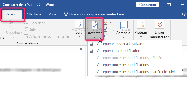 Accepter les modifications - Révision d'un document Word