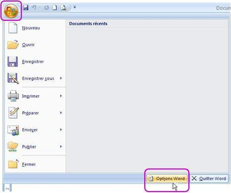 Bouton Office - Options - Word 2007