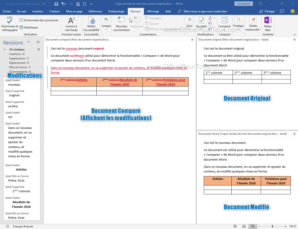 Comparaison de deux documents Word