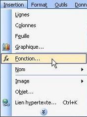 Insertion Fonction par Menu - Excel 2003