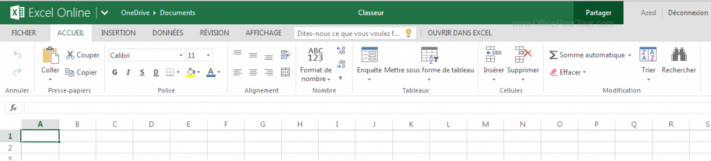 Interface de Excel Online