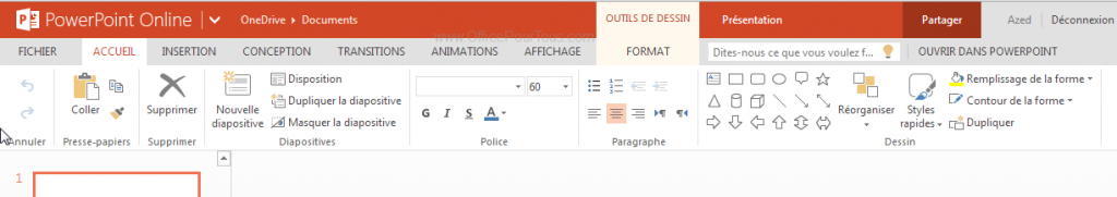 Interface de PowerPoint Online