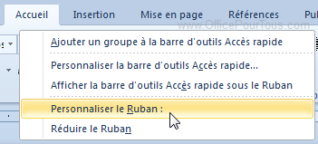 Personnaliser le ruban Office