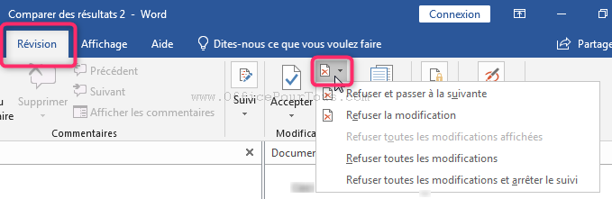 Refuser les modifications - Révision d'un document Word