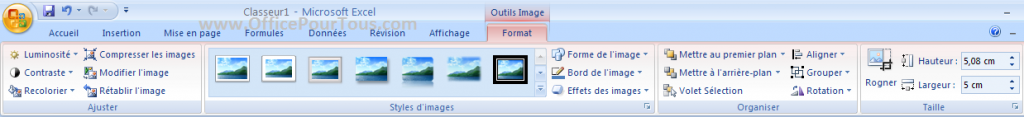 Ruban Excel 2007-2010 - Outils Image