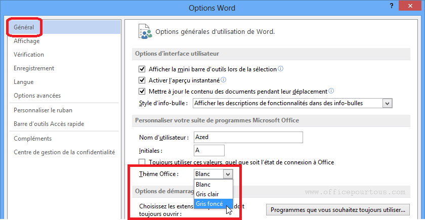 Changer la couleur de l'interface de MS Office 2013
