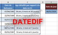 Fonction DATEDIF - Excel