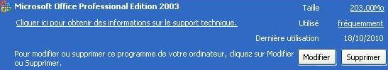 Installation Minimale MS Office 2003 - Espace pris