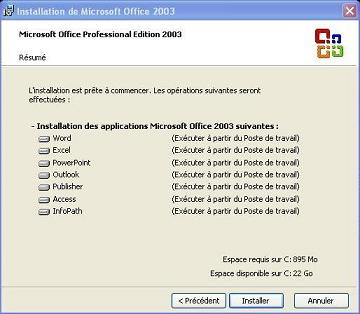 Installation MS Office 2003 - Complète