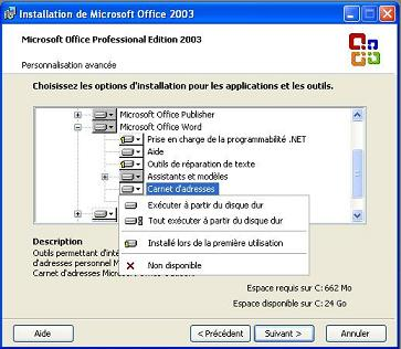 Installation MS Office 2003 - Personnalisation avancée