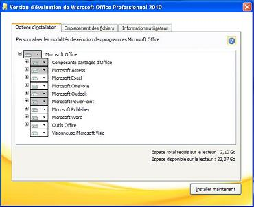 Installation MS Office Pro 2010 - Personnalisée