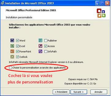 Installation Office 2003 - Personnalisée