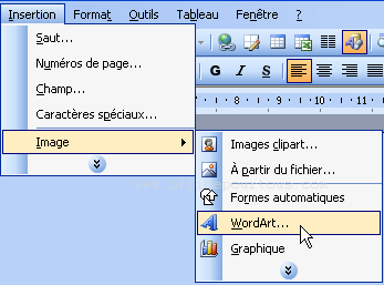 Insertion d'un objet wordart par le menu