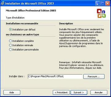 Options d'installlation MS Office 2003