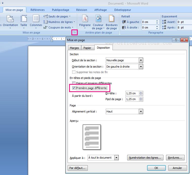 ins u00e9rer une page de garde dans un document word
