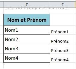 Résultat de la répartition du contenu d'une colonne Excel sur deux colonnes distinctes