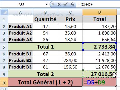 Somme de cellules non adjacentes dans Excel